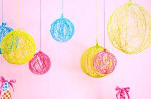 Yarn Ball Chandeliers